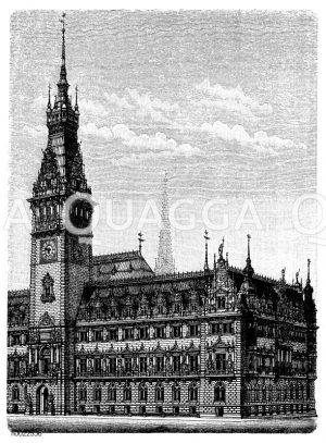 Neues Rathaus in Hamburg Zeichnung/Illustration