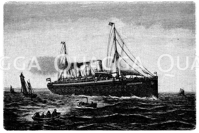 Hamburger Dampfer Fürst Bismarck Zeichnung/Illustration