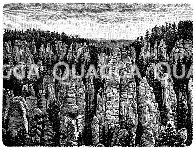 Adersbacher Felsenstadt Zeichnung/Illustration
