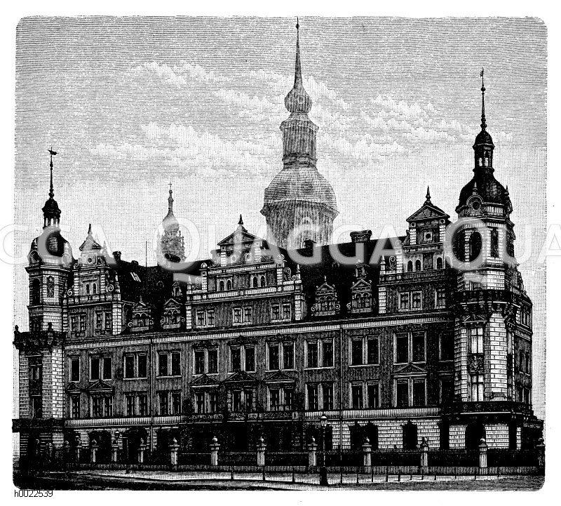Neubau des königlichen Schlosses in Dresden Zeichnung/Illustration