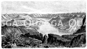 Kratersee auf den Azoren Zeichnung/Illustration