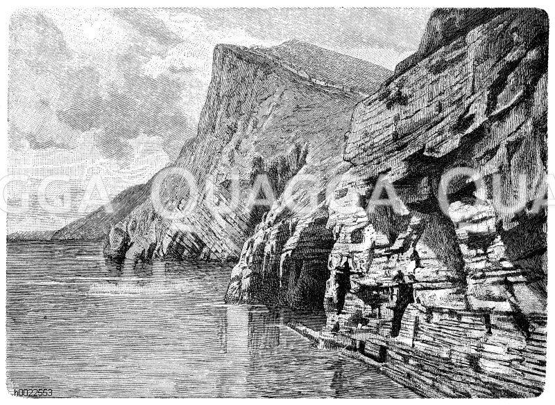 Steilküste bei Porto Venere in Ligurien Zeichnung/Illustration