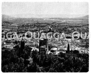 Vega von granada. Vorn ein Eckturm der Alhambra Zeichnung/Illustration