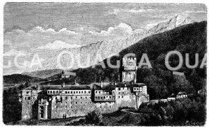 Mönchskloster am Berg Athos (Chalkidike) Zeichnung/Illustration