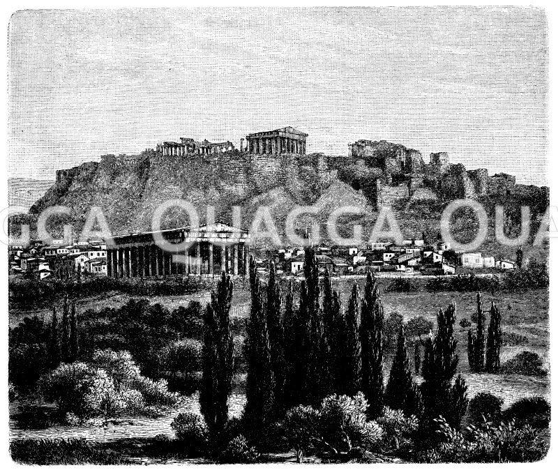 Athen mit Theseustempel und Akropolis Zeichnung/Illustration