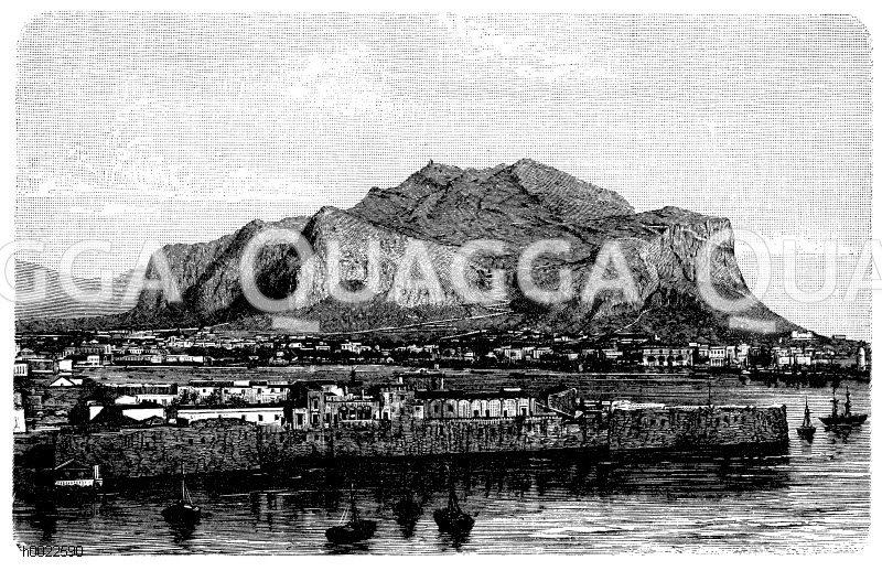 Palermo und der Monte Pellegrino Zeichnung/Illustration