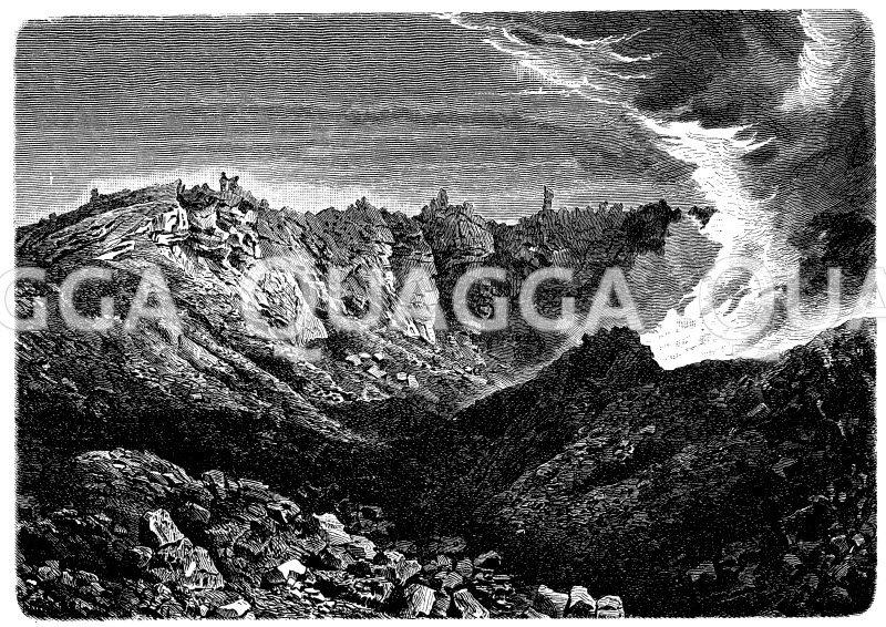 Inneres des Vesuvkraters im Jahre 1882 Zeichnung/Illustration