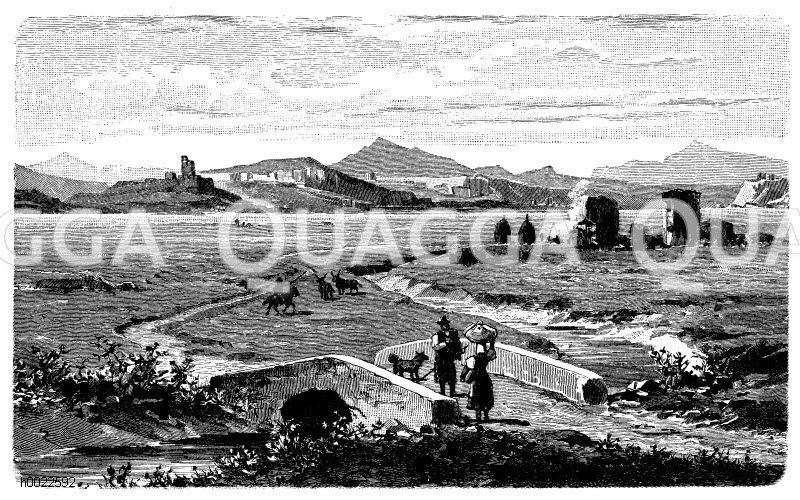 Landschaft in der römischen Campagne Zeichnung/Illustration