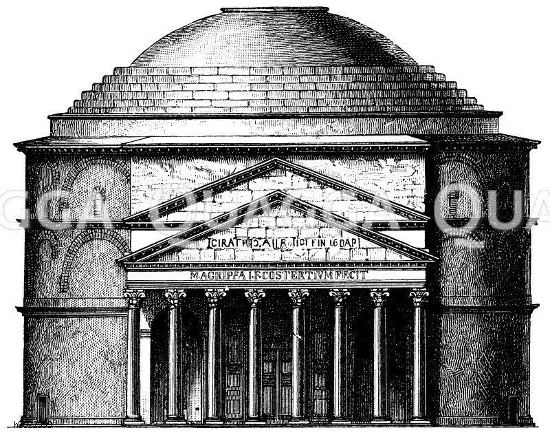 Fassade des Panthenons zu Rom Zeichnung/Illustration