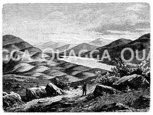 Rundhöckerlandschaft mit See in Schottland Zeichnung/Illustration