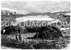 Norwegisches Fjeld mit Lappländern Zeichnung/Illustration
