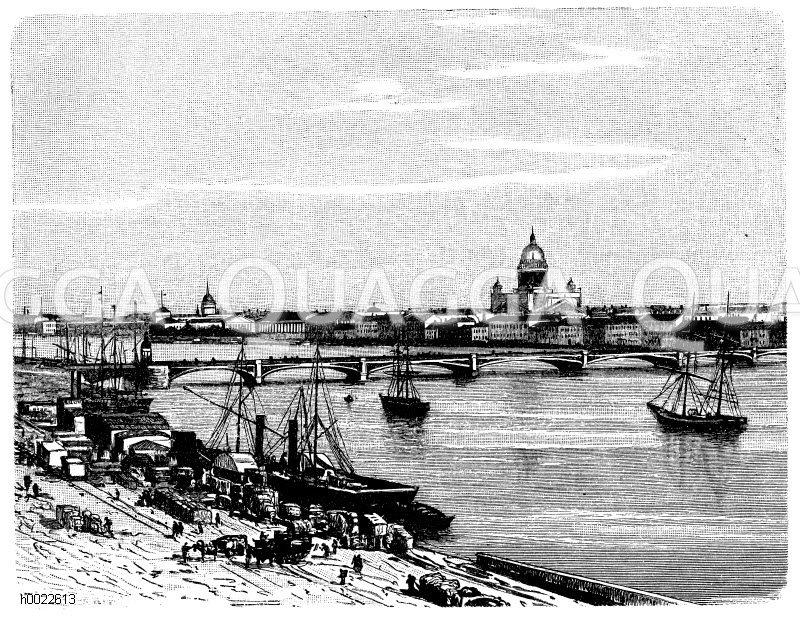 Petersburg und die Newa Zeichnung/Illustration