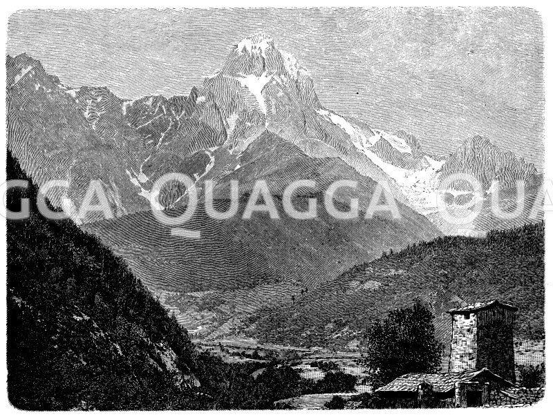 Uschba im mittleren Kaukasus Zeichnung/Illustration