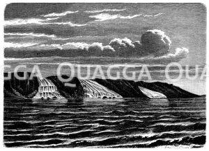 Steilküste mit ins Meer auslaufenden Gletschern Zeichnung/Illustration
