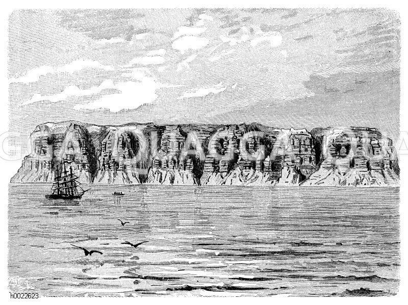 Ausgewaschene Steilküste (die Tempelberge) auf Spitzbergen Zeichnung/Illustration