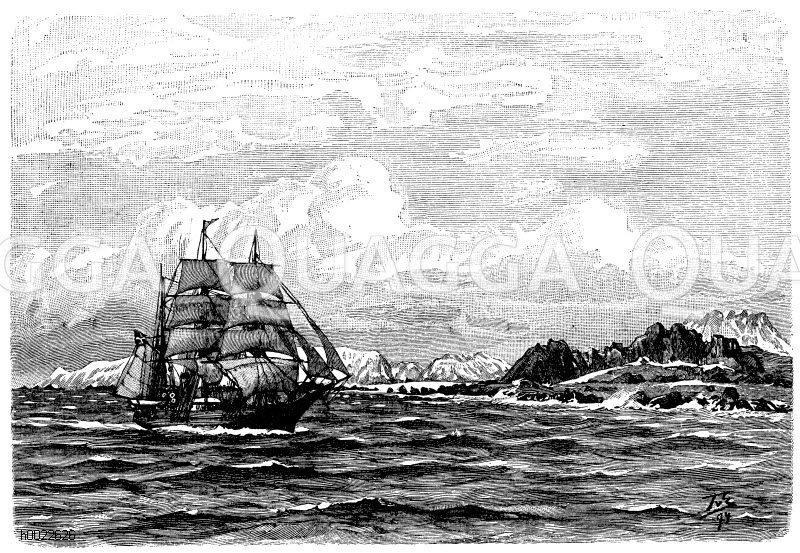 Küste von Nowaja Semlja Zeichnung/Illustration