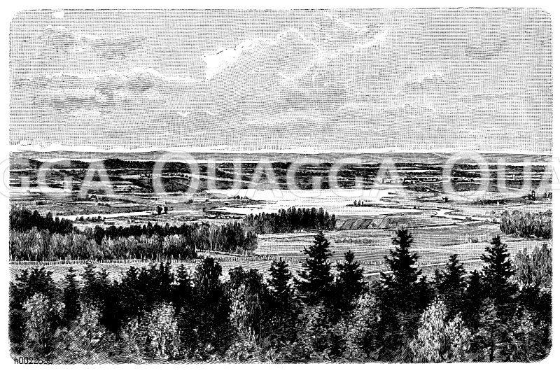 Seengebiet in Finnland Zeichnung/Illustration