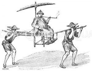 Palankin (Tragstuhl) aus Bambus Zeichnung/Illustration