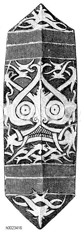Schild der Dajak aus Borneo Zeichnung/Illustration