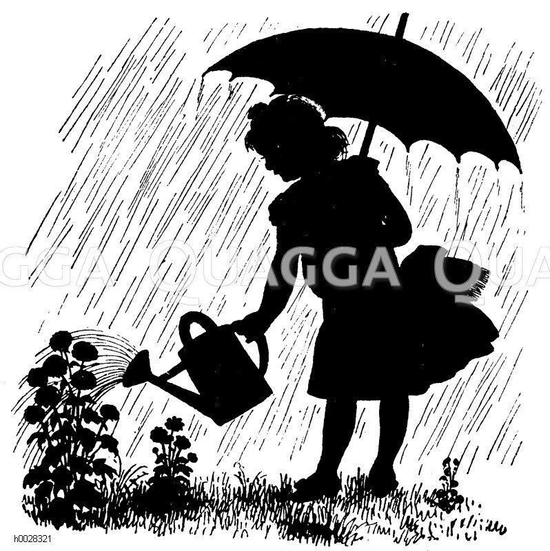 Schattenbild Mädchen Mit Schirm Und Gießkanne Gießt Blumen Quagga