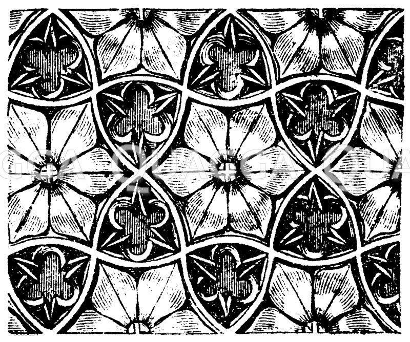 Fliesen, Flachmuster, Reliefs