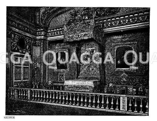 Schlafzimmer Ludwigs XIV. im Schloss von Versailles. Nach Durun