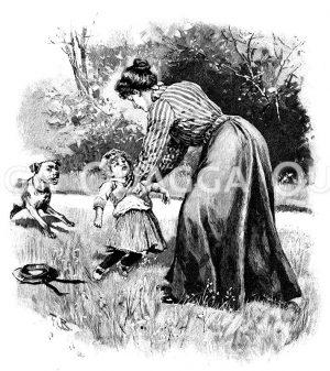 Wie man ein Kind emporheben soll Zeichnung/Illustration