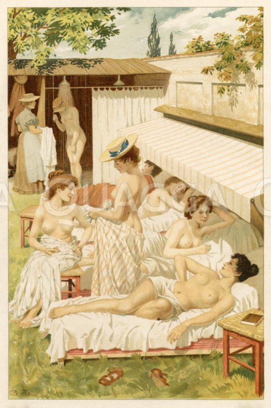 Junge Frauen beim Sonnen- und Luftbad Zeichnung/Illustration