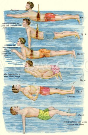 Schwimmen lernen Zeichnung/Illustration