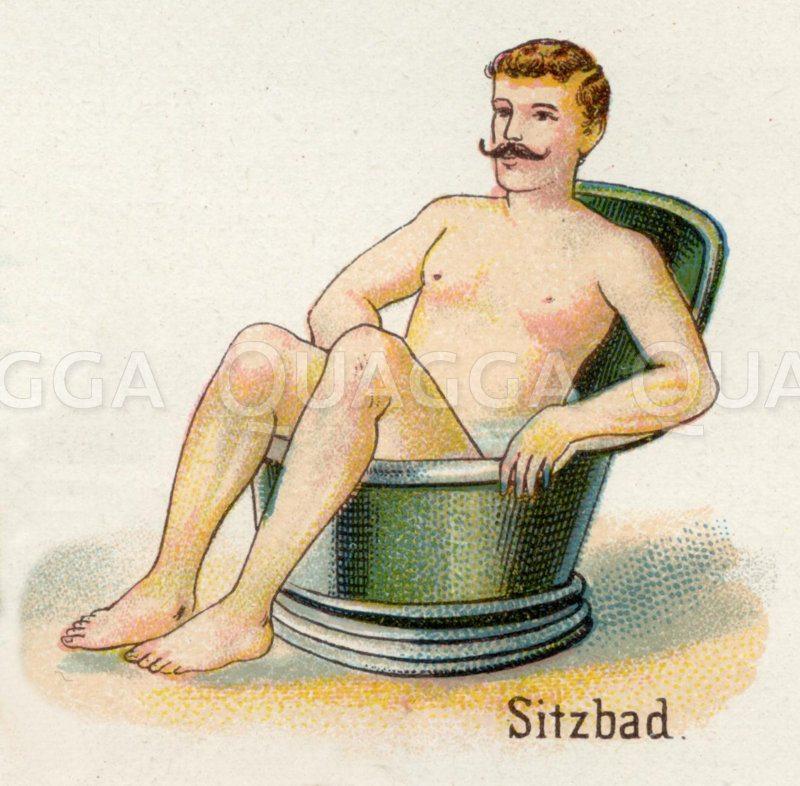 Baden in der Sitzbadewanne Zeichnung/Illustration