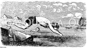 Kopfsprung ins Wasser Zeichnung/Illustration
