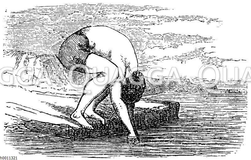 Vorbereitung zum Kopfsprung Zeichnung/Illustration