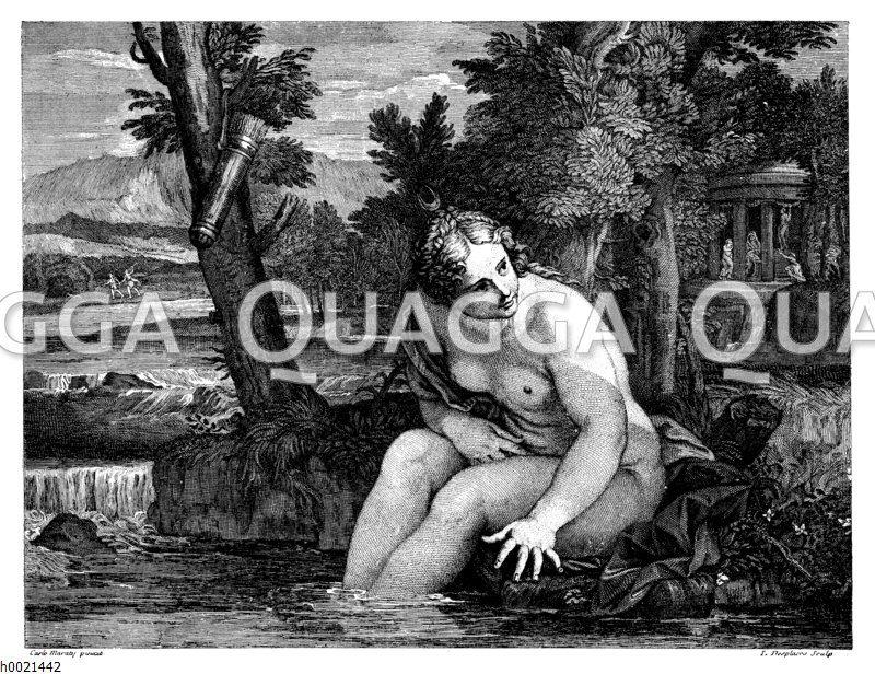 Diana im Bade. Französischer Kupferstich von L. Desplaces nach Carlo Maraty um 1710 Zeichnung/Illustration