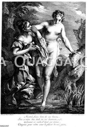 Die Badende. Französischer Kupferstich von Laurent Cars nach Fr. La Moyne um 1760 Zeichnung/Illustration