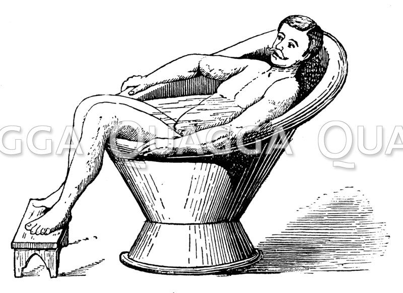 Mann in der Sitzbadewanne Zeichnung/Illustration