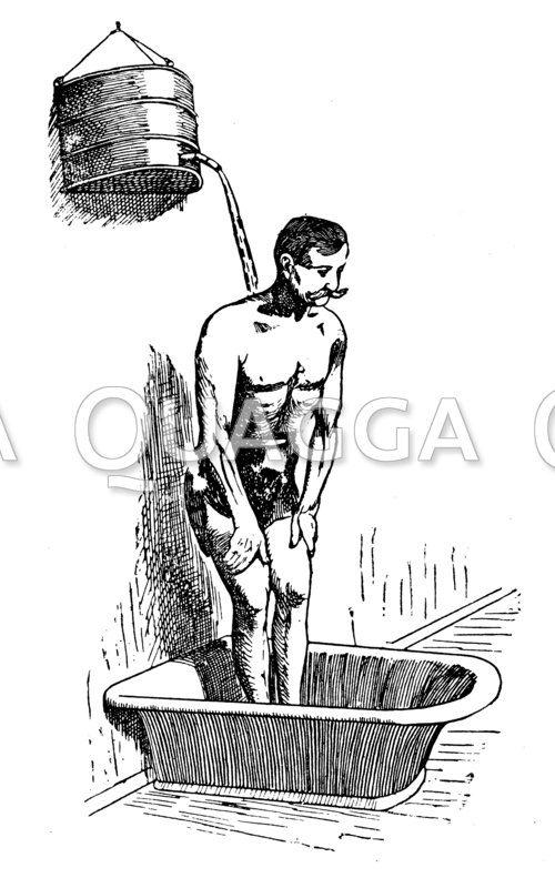 Moosdorffscher Selbstgießer; Dusche mit durchlöchertem Eimer Zeichnung/Illustration