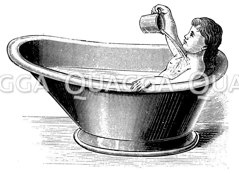 Halbbad für Kinder in der Sitzbadewanne ausgeführt Zeichnung/Illustration