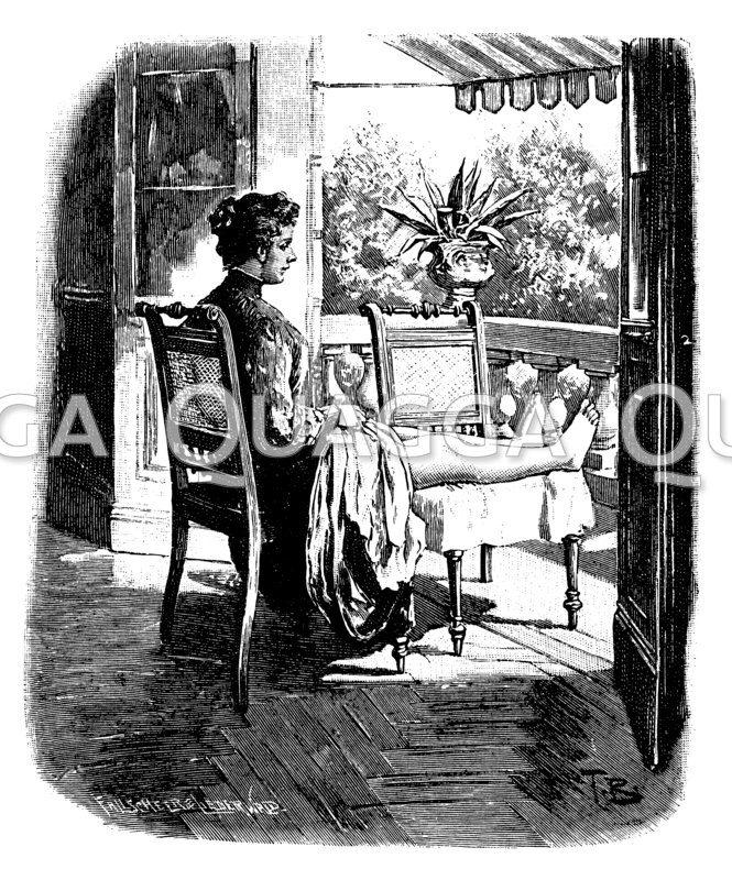 Sonnenbad auf einem Balkon für chronische Kniegelenk-Entzündung Zeichnung/Illustration