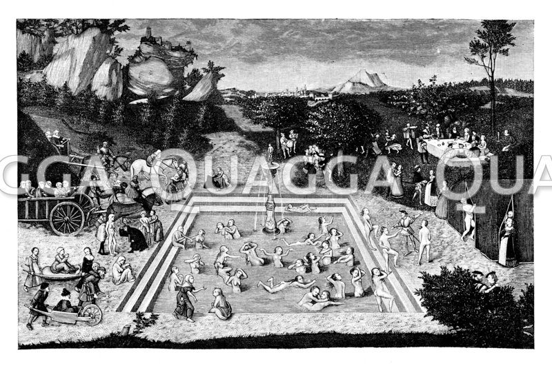 Der Jungbrunnen. Gemälde von Lukas Cranach im kgl. Museum von Berlin Zeichnung/Illustration