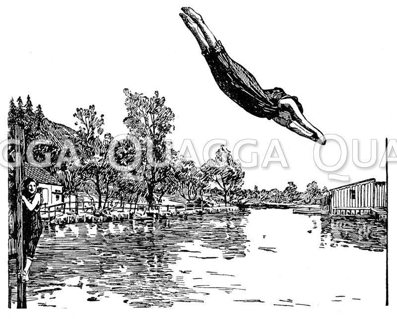 Sprung ins kalte Wasser Zeichnung/Illustration