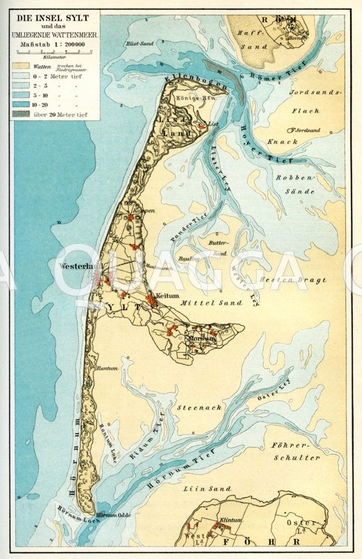 Insel Sylt und das umliegende Wattenmeer.  Maßstab 1:200.000
