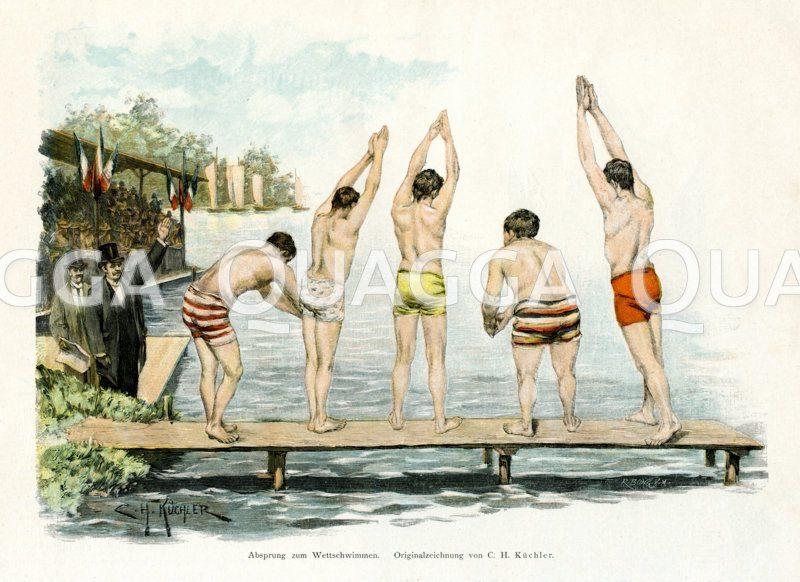 Fünf junge Männer beim Startschuss zum Wettschwimmen Zeichnung/Illustration