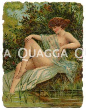 Zigarettenbild: Badende nackte Frau am Ufer Zeichnung/Illustration