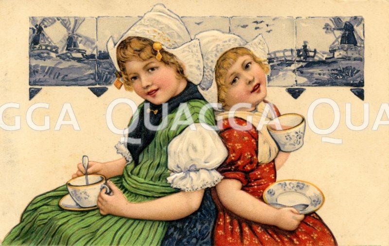 Zwei holländische Mädchen beim Kakaotrinken Zeichnung/Illustration