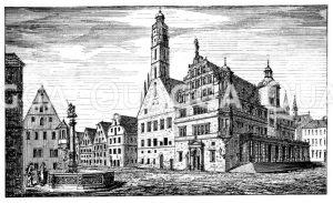 Markt zu Rothenburg ob der Tauber Zeichnung/Illustration