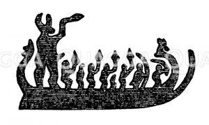 Bemanntes Schiff aus der Bronzezeit Zeichnung/Illustration