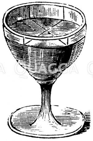 Weinglas für Schallexperiment Zeichnung/Illustration