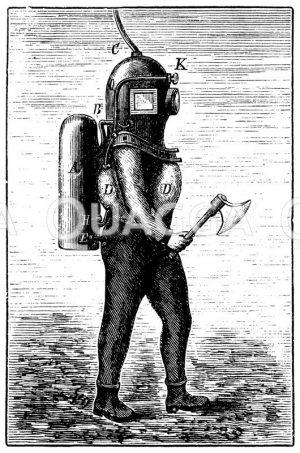 Amerikanische Taucherausrüstung Zeichnung/Illustration