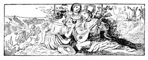 Frauen trinken und musizieren Zeichnung/Illustration