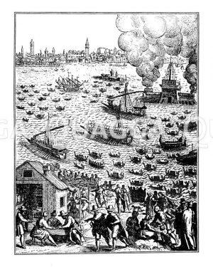 """Rückkehr des Dogen von Venedig auf dem Staatsschiff Bucentoro"""""""" Zeichnung/Illustration"""